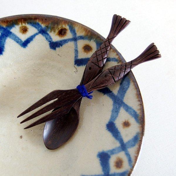 木製スプーン&フォークセット さかな
