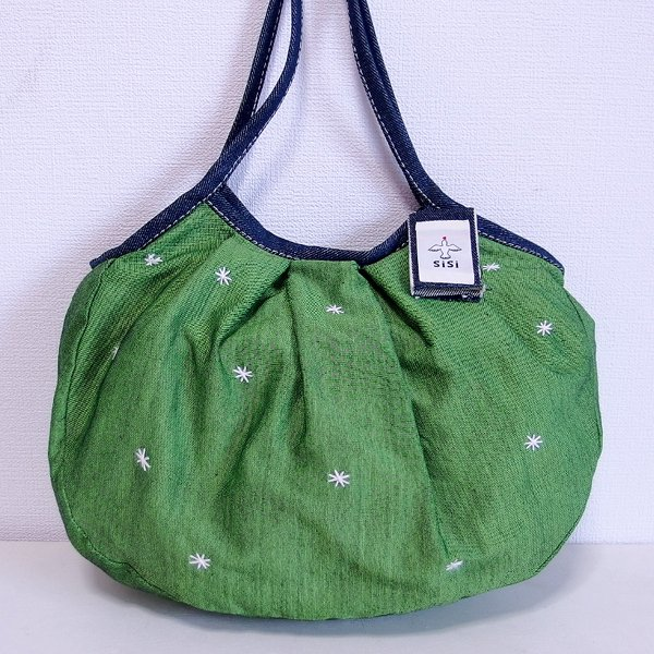 sisiグラニーバッグ 定番サイズ 刺繍 グリーン