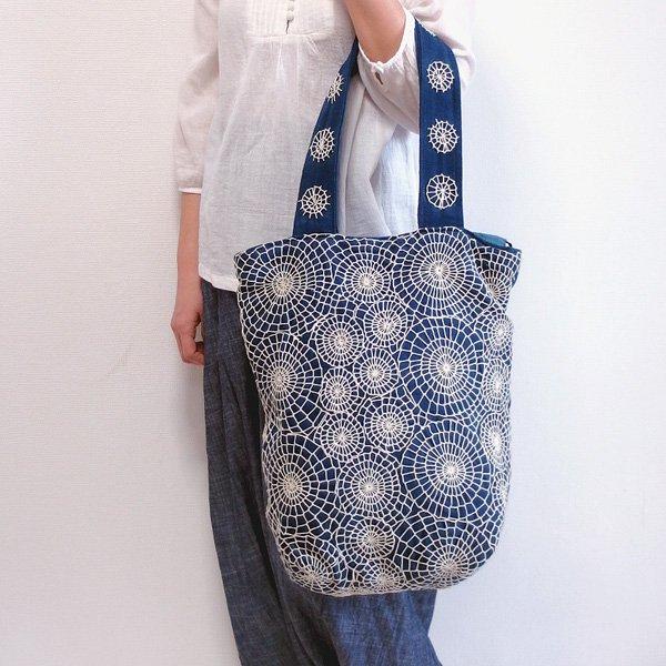 刺し子トートバッグ 03 手織り布藍染め