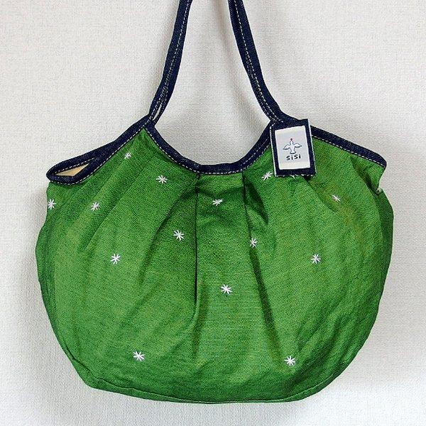 sisiグラニーバッグ 120%ビッグサイズ 刺繍 グリーン