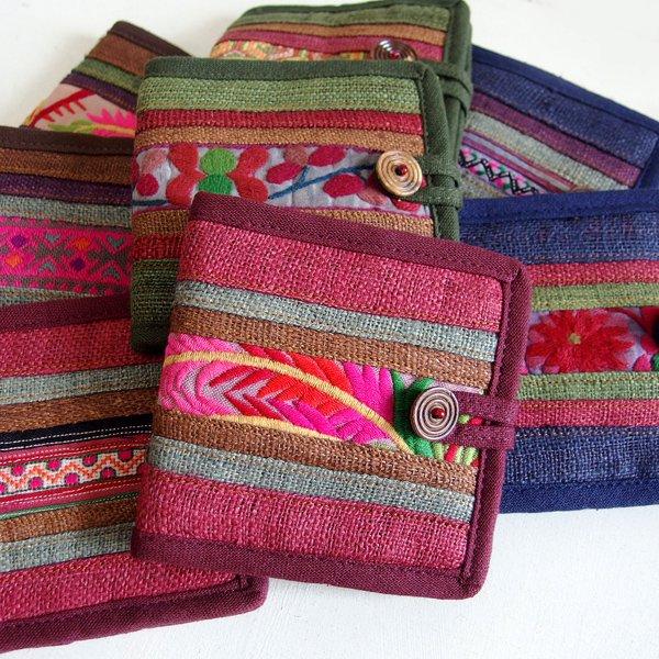 モン族 刺繍 二つ折り財布