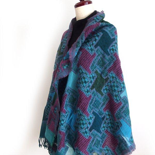 ウールショール 31  ブルー 天然素材ウール100%