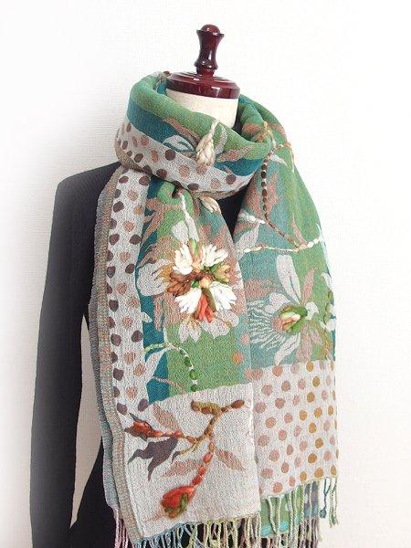 手刺繍ショール 34 天然素材(ウール50% コットン50%)