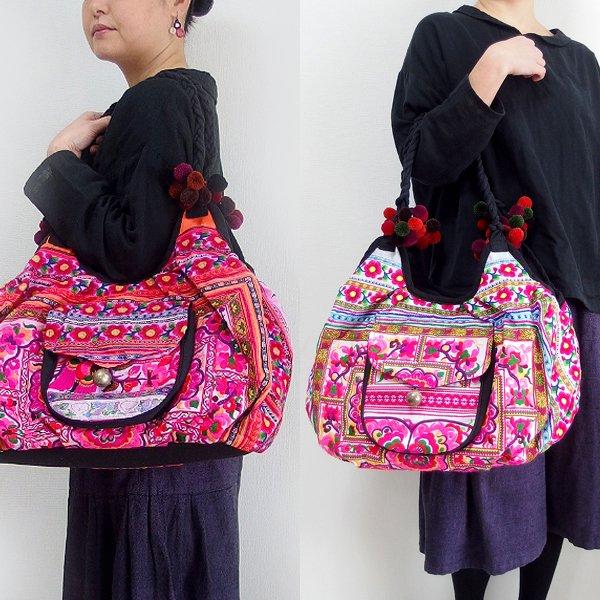 モン族刺繍ラウンドバッグ