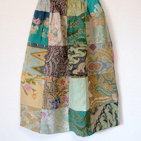 オールドバティックのパッチワーク ミディアムスカート 54