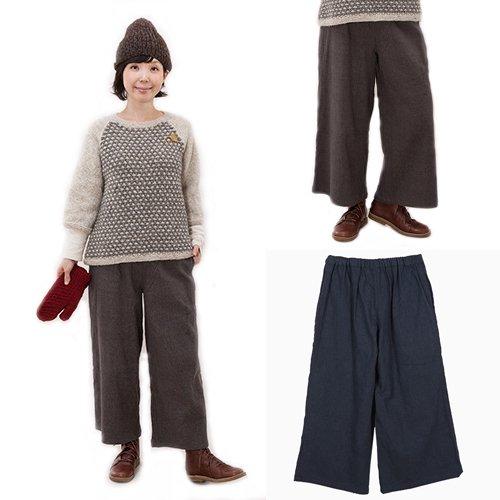 手織りコットンの厚手ガウチョパンツ(フェアトレード)