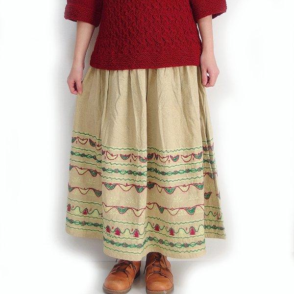 インド手刺繍スカート ベージュ