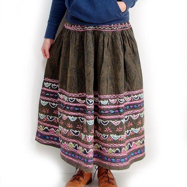 インド手刺繍スカート ブラウン
