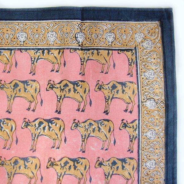 インド ブロックプリント バンダナ 02 牛