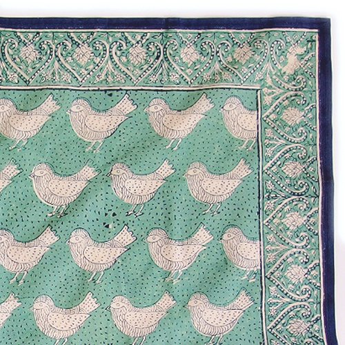 インド ブロックプリント バンダナ 04 小鳥