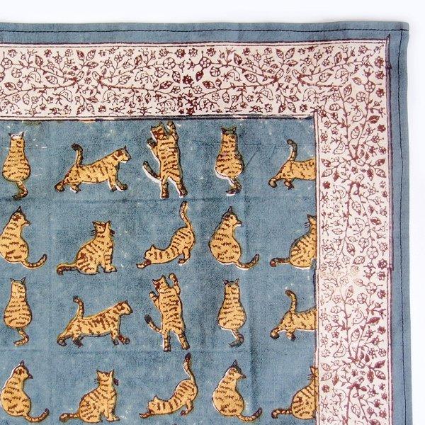 インド ブロックプリント バンダナ 09 猫のポーズ