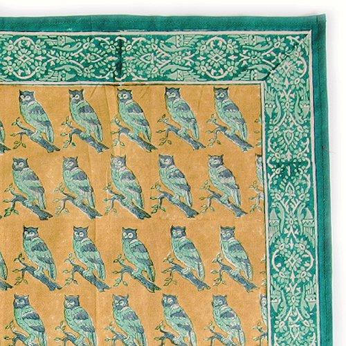 インド ブロックプリント バンダナ 10 フクロウ