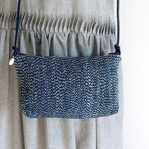 藍染め手紡ぎ手織りヘンプ布の刺し子ポシェット A