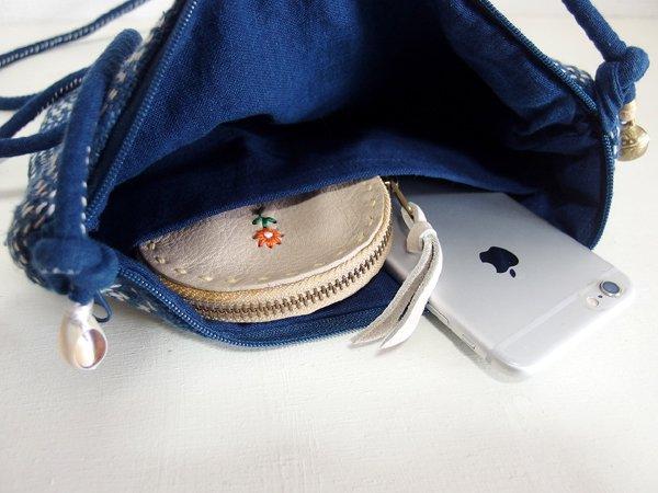藍染め 手織り 刺し子 ポシェット バッグ