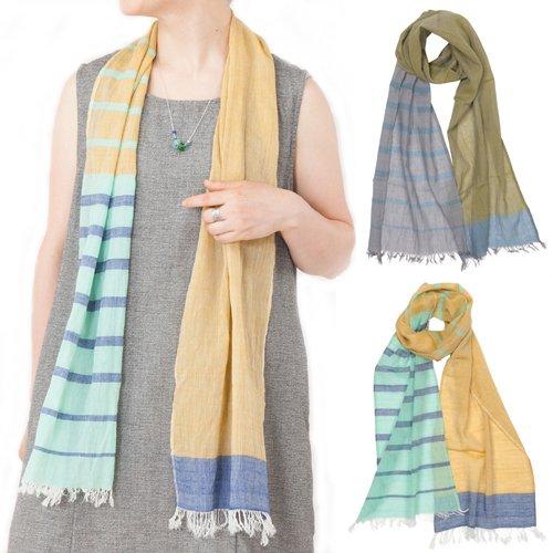 オーガニックコットン手織りスリムショール(フェアトレード)