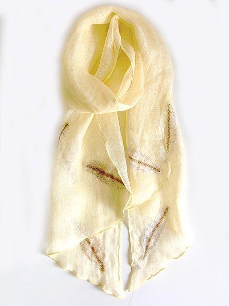 手刺繍 天然素材 リネン 麻 ショール ストール