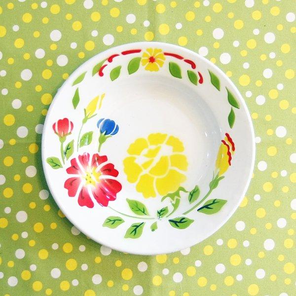 琺瑯(ホーロー)皿 レトロ花柄 23cm