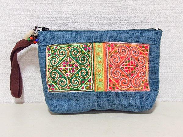 モン族手刺繍ポーチ C