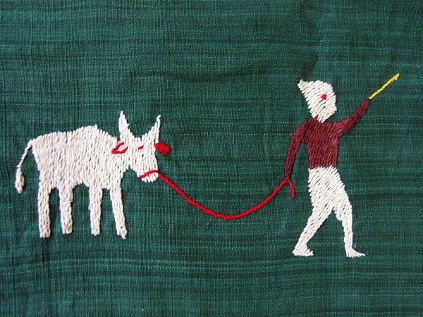 ナガ族 手刺繍 タペストリー マルチクロス