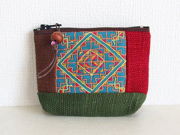 モン族 手刺繍ポーチ G