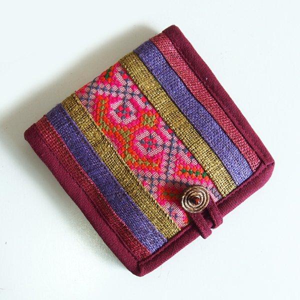モン族手刺繍 二つ折り財布 53a