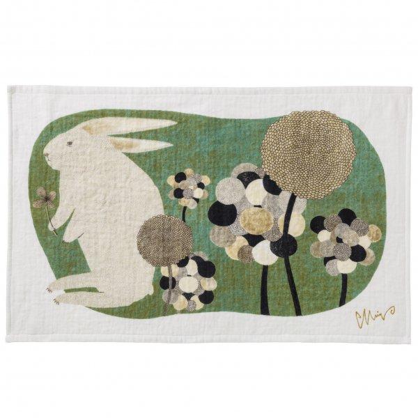 【再入荷待ち】morita MiW ティータオル 草叢で  ウサギ
