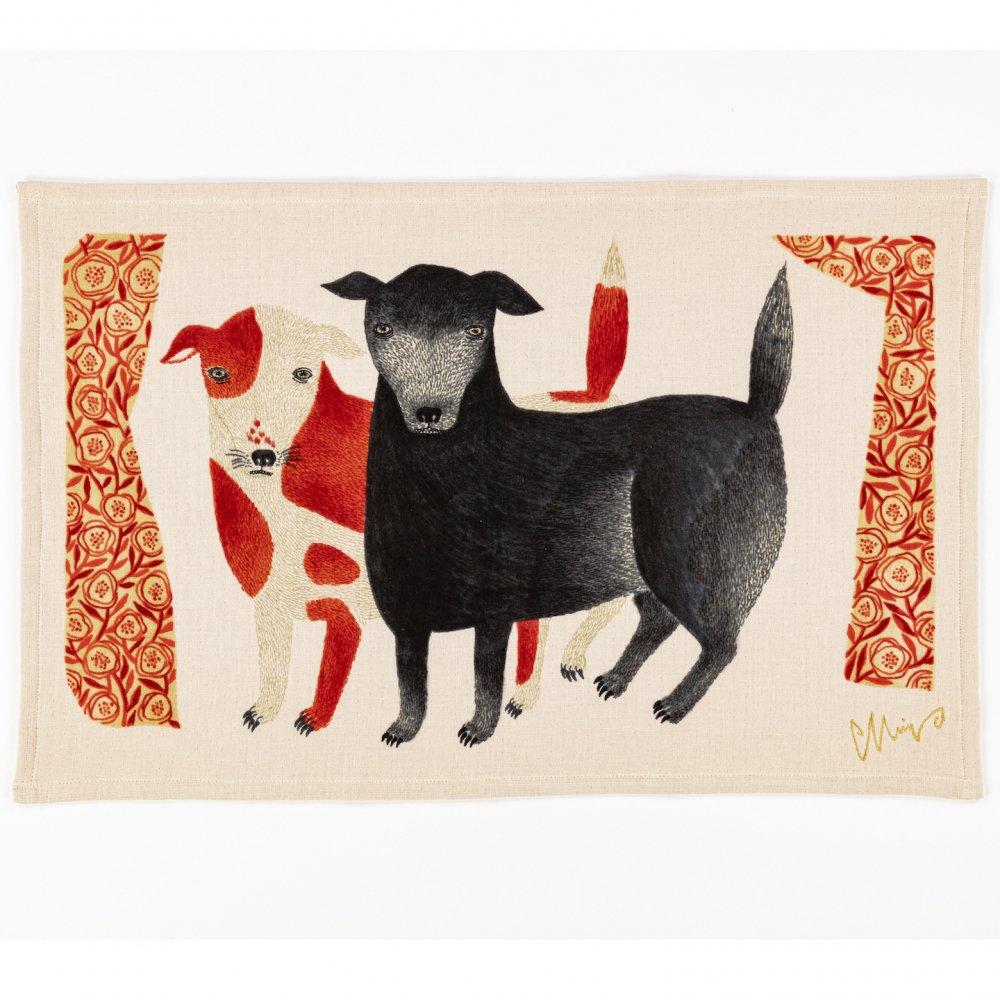 morita MiW ティータオル2 黒犬チョークと赤斑犬のテン イヌ