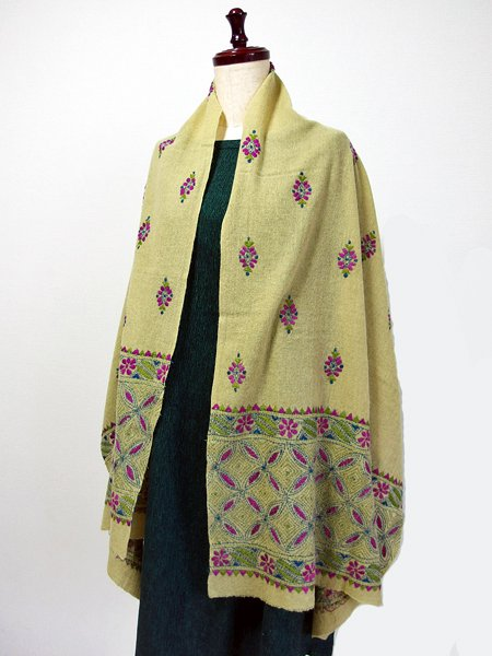 手刺繍 天然素材 ウール ショール ストール マフラー
