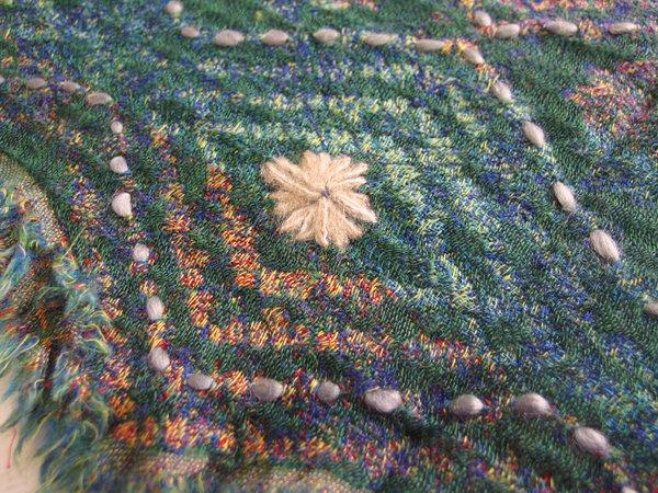 手刺繍 天然素材 ウール コットン ショール ストール マフラー