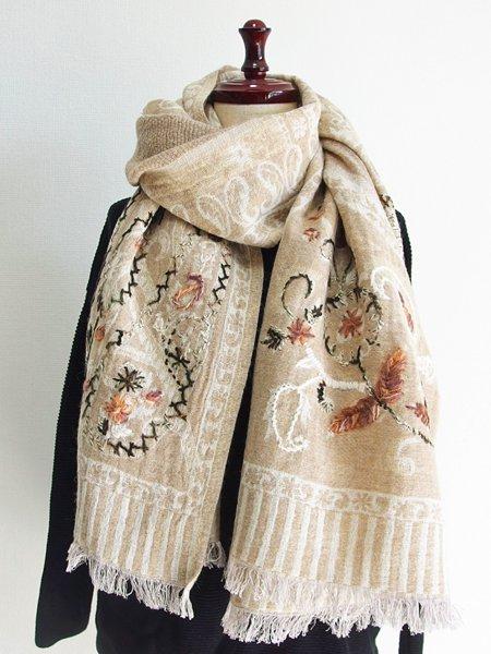 ウールコットンペイズリー刺繍ショール 48 ベージュ
