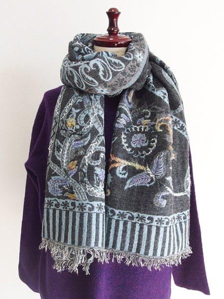 ウールコットンペイズリー刺繍ショール 48 グレイ