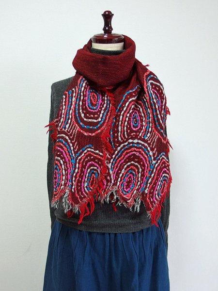 ウール100%ぐるぐる刺繍ショール 49