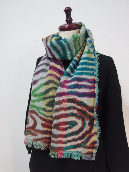 手刺繍 天然素材 ウール100% ショール ストール マフラー
