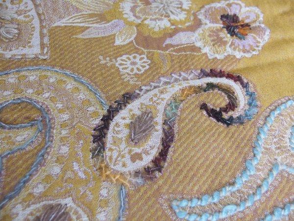 手刺繍 天然素材 ウールコットン ショール ストール マフラー