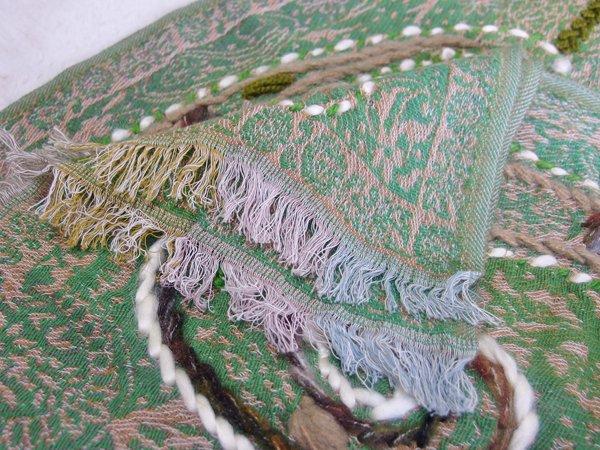 手刺繍 天然素材 ショール ウールコットンストール マフラー