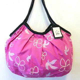 sisiグラニーバッグ 定番サイズ 鳥と花 ピンク