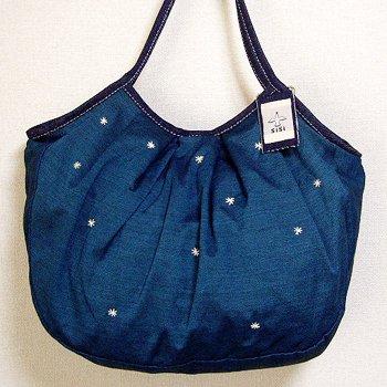 sisiグラニーバッグ 120%ビッグサイズ 刺繍 ブルー12aw