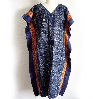 モン族 藍染めワンピース 204