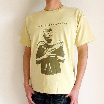 バリ島Tシャツ メンズ ライフイズビューティフル イエロー