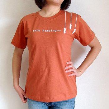バリ島Tシャツ レディース サテカンビン オレンジ