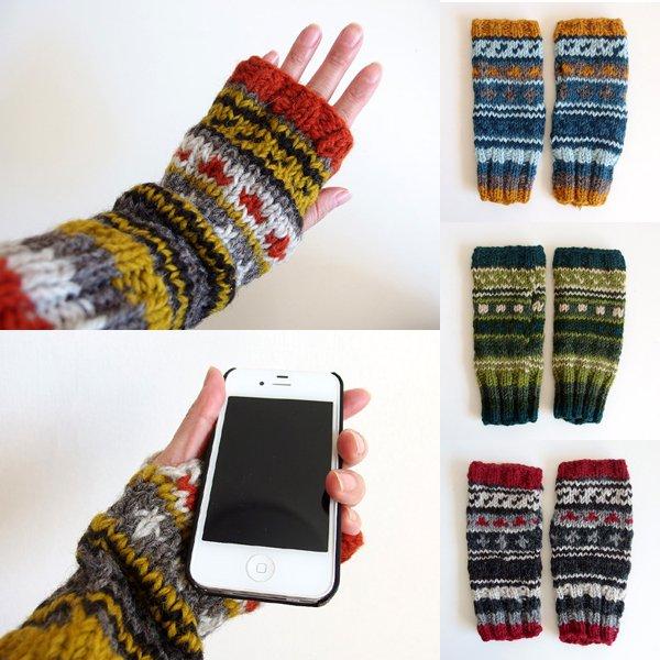 アームウォーマー 手編み ウール100%(フェアトレード )