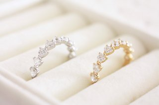 Heart shape half eternity ring