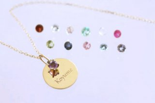 B.D Stone & Name plate necklace