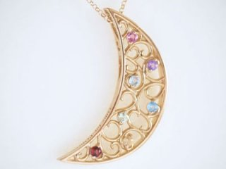 Rainbow Color crescent moon necklace