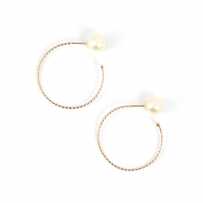 Pearl Catch Hoop Pierce | K10YG