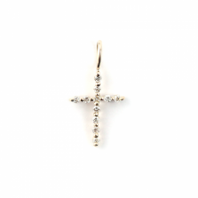 Tiny Diamond Cross Charm | K10YG