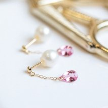 Pink Tourmaline Pearl Catch Pierce | K18