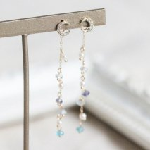 Multi Blue Stone & Pearl Pierce Catch | K10
