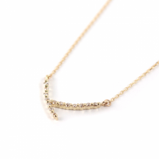 Tiny Diamond V Necklace | K10YG