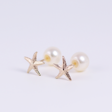 Starfish Motif Pearl Catch Pierce | K10YG